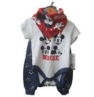 Disney Mickey Mouse Kids Bodysuit Top & Pant With Bibs Baby Set Gift Set Primark