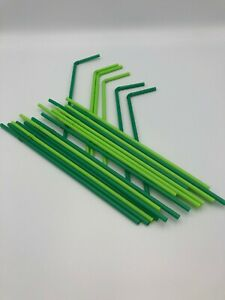 40 Plastic Green Bendy Straws Birthday Wedding Summer Party Cocktail Drink BIO