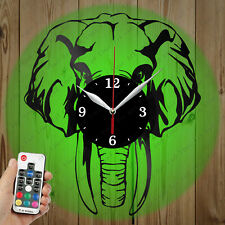 LED Vinyl Clock Elephant LED Wall Art Decor Clock Original Gift 4181