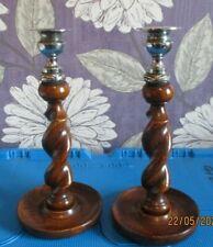 Stunning Pair of Vintage Wood Barley Twist and Metal Candle Holders