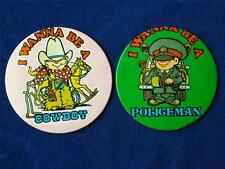 I WANNA BE A COWBOY POLICEMAN LITTLE BOY CUTE VINTAGE COLLECTOR BUTTON LOT