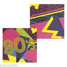 12 Retro 80s Decoración Partyware Fiesta Cumpleaños Papel Servilletas Juego De Vajilla