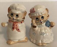 """Cat Salt and Pepper Shaker Set Chefs 3"""" Tall Vintage Whimsical Z11"""