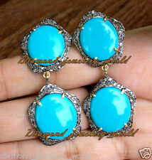 Victorian Estate 3.83ct Rose Cut Diamond Jewelry Turquoise Silver Lovely Earring
