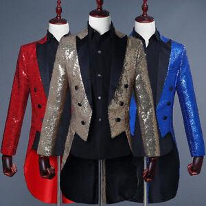 Mens Sequins Tuxedo Jacket Wedding Party Show Long Coat Blazers Cosplay Costume