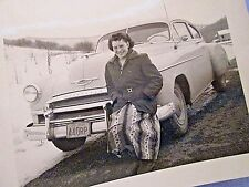 Vintage B/W Snapshot LADY POSING with 1950 CHEVROLET DELUXE Pennsylvania Plates