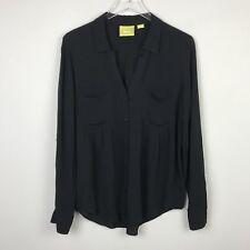 Anthropologie Top Medium M Maeve Composed Pintuck Buttondown Black Shirt Blouse
