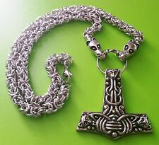 Viking Dragon Head Chain with Faroes Thor's Hammer Pewter Pendant Necklace