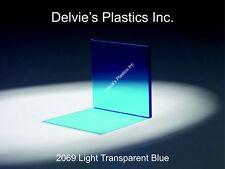 "5 Sheets 1/8"" 2069 Transparent Blue Cell Cast Acrylic Sheet  12"" x 12"""