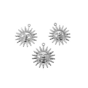 20 x Stainless Steel Sun Filigree Pendant Stampings w/ Smiling Face