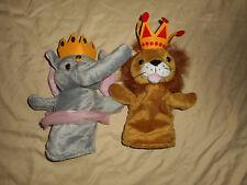 Animal Finger Puppets MURDOCK & ROSS (2) Elephant in Pink Tutu Lion Plush Play
