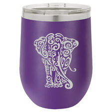 Stemless Wine Tumbler Coffee Travel Mug Glass Double Insulated Tribal Elephant