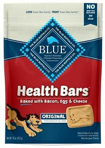 Blue Buffalo Health Bars Natural Crunchy Dog Treats Biscuits, Bacon, Egg & Che..