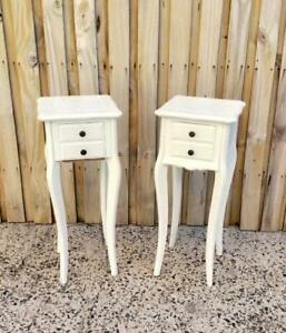 PAIR OF HAMPTONS STYLE WHITE CARVED  2 DRAWER BEDSIDE TABLES