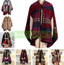 Women Cashmere Scarf Patchwork Plaid Poncho Cape Cloak Wrap Shawl Blanket Poncho