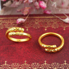 1PCS Pure 999 24K Yellow Gold 3D Lucky Ruyi 金箍棒 Hoop Ring /2g /US Size 8