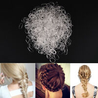 1000Pcs Clear Rubber Hairband Rope Ponytail Holder Elastic Women Hair Band Tie!
