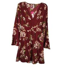 Xhilaration NWT Dress ~ Sz M ~ Burgundy ~ Floral ~ Above Knee ~ Long Sleeve