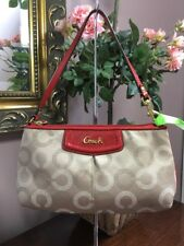 Coach F48053 Ashley Dotted Op Art Large Wristlet Brown Red Leather  B12