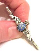 More details for ww2 kings crown silver & enamel raf sweetheart brooch