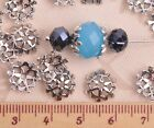 50pcs 10mm Round Tibetan Silver Flower Caps Charm Loose Spacer Beads Findings