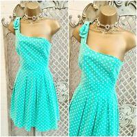 HENRY HOLLAND HI UK 10 Green Polka Dot Asymmetric Bow Fit & Flare Dress Summer