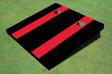Red And Black Matching Long Stripe No Stripe Custom Cornhole Board
