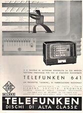PUBBLICITA' 1941 TELEFUNKEN 646 SIEMENS OMINO LEVA MOVIMENTO RADIOFONOGRAFO