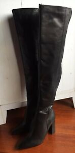 Tony Bianco Black Leather Knee High Ladies Boots Size 7 New Rrp $379.95