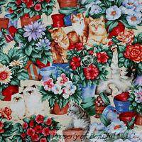 BonEful Fabric FQ Cotton Quilt Green Blue Red Flower Pot Garden Kitty Cat White