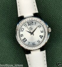 NWT G BY GUESS MINI GLITZ SPORT WATCH LEATHER STRAP WHITE DIAL G74029L1