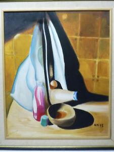 Splendidly Vivid  Painting Oil/C Still Life Signed Helen Marmot 93,  63 X 52.5cm