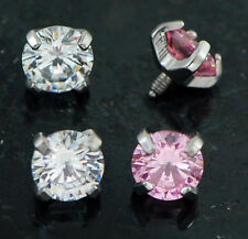 4 Pc 5mm Clear & Pink Extra Bling Sparkle Prong Set CZ Dermal Anchors Heads 14g