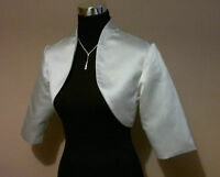 Light Silver/Grey Satin Bolero/Shrug/Jacket/Stole/Wrap/Tippet/Shawl 3/4 UK 4-26