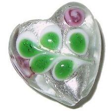 4 Pcs Lampwork Heart Glass Beads - 20mm - White -A4159