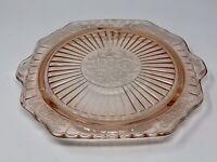 """Pink Depression Flower Patterned Vintage Footed Cake Plate Handles 10"""" Diameter"""
