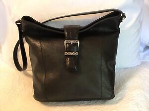 Brighton handbag/shoulder, Black genuine leather, EUC