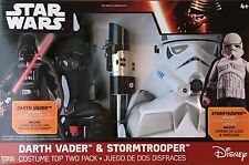 NEW Disney Star Wars Stormtrooper & Darth Vader Costume & Saber Gift Set
