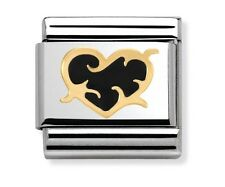 Nomination Charm Black Enamel Heart With Thorns RRP £22