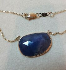 14k Yellow Gold Necklaces With  Sapphire 18×13mm free cut stone.