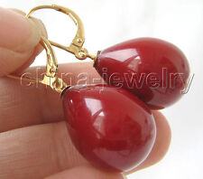 E3114-20mm red coral color south sea shell pearl earring -14k gold filled