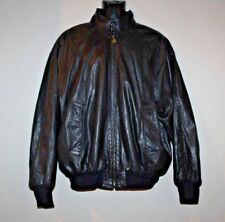 Bally Men's Black Leather Bomber Motorcycle Jacket Band Collar Size 42 Zip