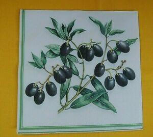 5 Servietten Oliven Zweige Serviettentechnik Motivservietten 1/4 napkins olives