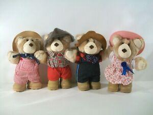 "Lot Of 4 ~ Vintage 1986 Furskins ~ 7"" Plush Teddy Bears ~ Wendy's ~ Complete Set"