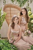 Rose Gold Bridesmaid Dresses A Line Sequins Chiffon Evening Maid of Honor HD227