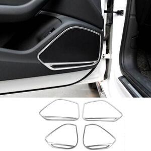 For Audi A4 B9 17-20 4x Stainless Car Door Speaker Speakers Stereo Trim Frame