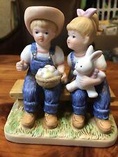 """Denim Days Danny & Debbie """"Easter Joy"""" # 15358-05 Homco Home Interiors Figurine"""