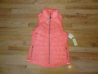 New  Womens Tangerine Lightweight Stretch Down Puffer Vest Running Coral S $78