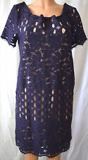 LANVIN BLUE LACE DRESS WITH RIBBON DETAIL ON THE NECK SIZE 8