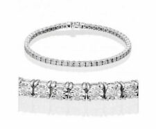 1.00ct VVS-EF Round Diamond Tennis Bracelet 14K White Gold Illusion Set bracelet